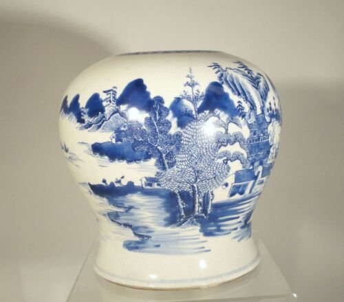 Antique Chinese Underglaze Blue and White Ginger Jar Kangxi Style Baluster