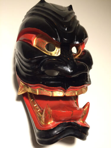 Danced, Patina, Antique, ca1930s, Japanese Wooden - Menburyu Mask - Furyu Parade