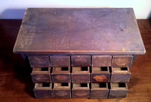 Antique 15 Drawer Apothecary Hardware Store Parts Cabinet Orig Blue Paint AAFA