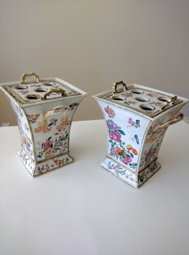 A Pair of Famille Rose Bough Pots and Covers Circa 1780