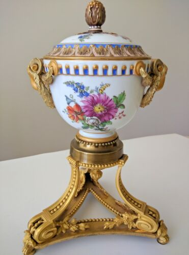 A Meissen Porcelain Bowl and Cover on Gilt-Bronze Stand by Henry Picard