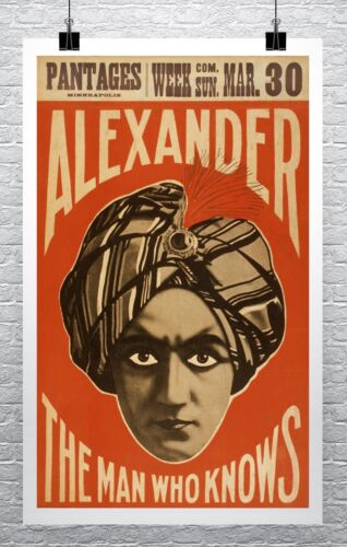 Alexander Vintage Magician Poster Rolled Canvas Giclee Print 24x36 in.