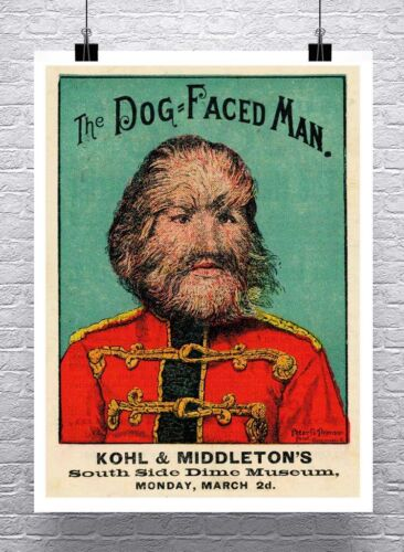 Dog Faced Man Vintage Freak Show Poster Rolled Canvas Giclee Print 24x32 in.