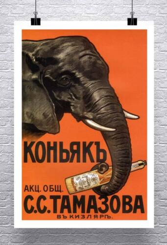 Cognac Elephant Vintage Russian Liquor Poster Canvas Giclee Print 24x34 in.