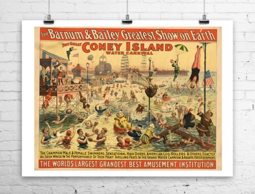 The Great Coney Island 1898 Vintage Poster Rolled Canvas Giclee Print 30x24 in.