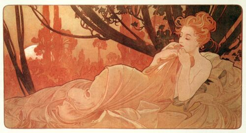 Dusk Alphonse Mucha Art Nouveau Nude Rolled Canvas Giclee Print 29x17 in.