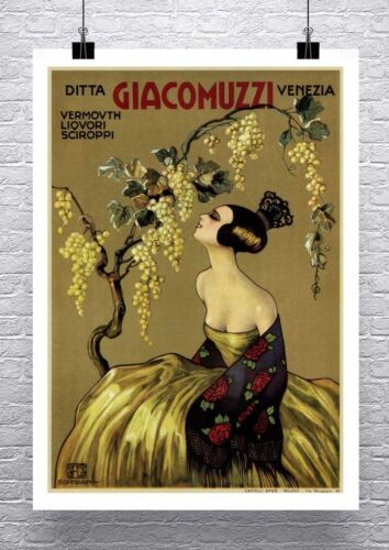 Giacomuzzi Vintage Italian Liquor Poster Rolled Canvas Giclee Print 24x32 in.