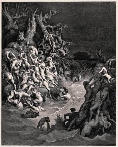 World Destroyed By Water Gustave Dore Engraving Canvas Giclee 24x29 in.