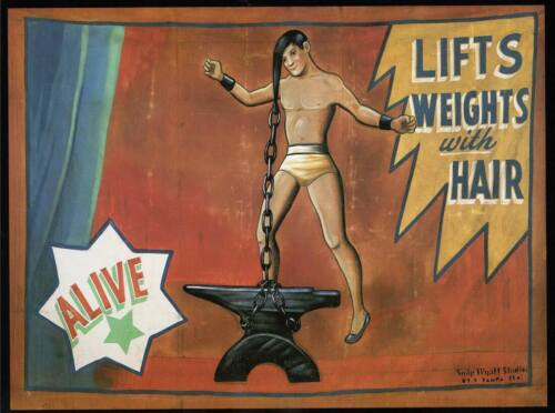 Lifts Weights With Hair Vintage Freak Show Poster Rolled Canvas Print 30x24 in.