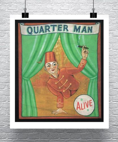 Quarter Man Vintage Freak Show Poster Canvas Giclee 24x28 in.