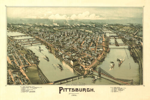 PITTSBURGH, PENNSYLVANIA 1902 Vintage Map Giclee CANVAS PRINT 36x24 in.
