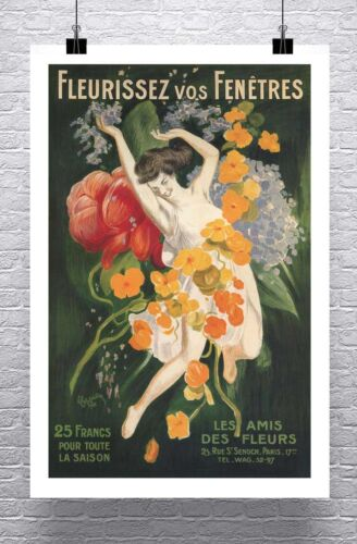 Flowers 1921 Vintage Leonetto Cappiello Poster Rolled Canvas Giclee 24x36 in.