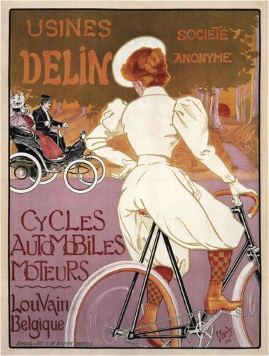 Vintage French Bicycle Advertising Poster Giclee Canvas Giclee 24x30 Inches