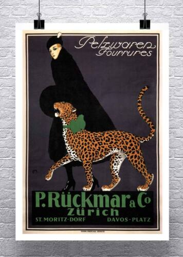 Woman Walking Cheetah Vintage Art Deco Advertising Poster Canvas Giclee 24x32 in