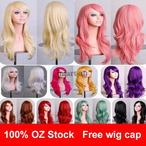 Womens 70cm Long Wavy Curly Hair Synthetic Cosplay Full Wig Wigs Party
