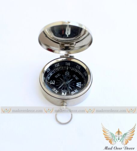NEW BRASS POCKET COMPASS W/ LID MAGNETIC NAUTICAL CAMPING HIKING MAD OVER DECOR