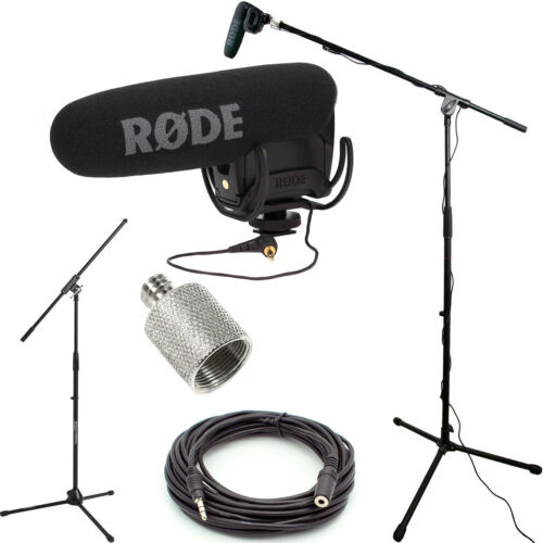 RODE VideoMic Pro Microphone Studio Boom Kit - Boom Stand, Adapter, 25' Cable