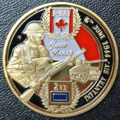 CANADA INFANTRY DIVISION WWII D-DAY 1944 Juno Beach Painted Commemorative MedalCanada - 156429
