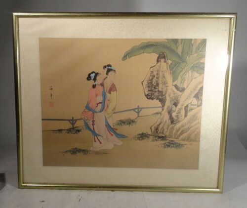 Vintage Contemporary Chinese Japanese Watercolor Painting Framed Two Beauties