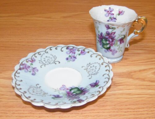 Vintage Lefton China Hand Painted Tea Cup & Saucer w/ Purple Flowers & Gold Trim