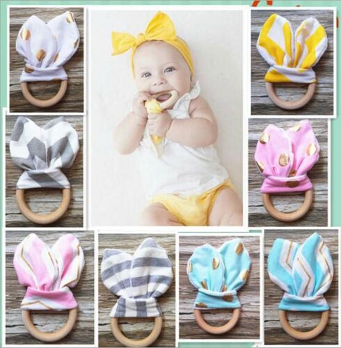 Handmade Wooden Natural Baby Teething Ring Chewie Teether Bunny Sensory Toy CHI