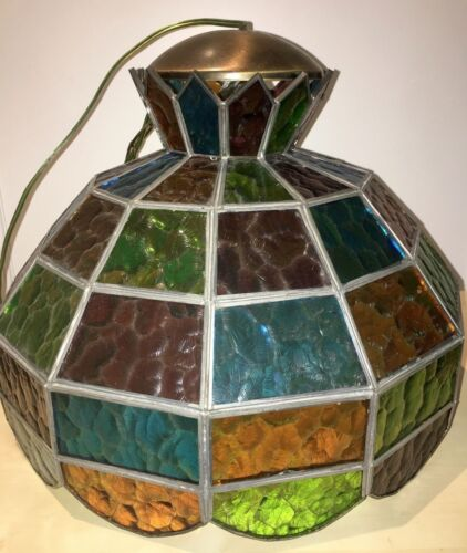 ANTIQUE LIGHT FIXTURE MULTICOLOR STAINED GLASS VINTAGE LEADED LAMP IN SF UNIQUE