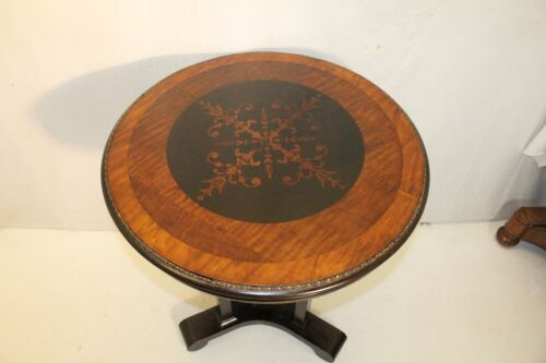 1930 french empire mahogany inlaid round side end table with brass gallery