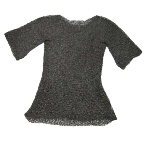 Medieval Chain Mail Shirt Flat Riveted With Flat Washer Chainmail Haubergeon Reenactment & Reproductions - 156374