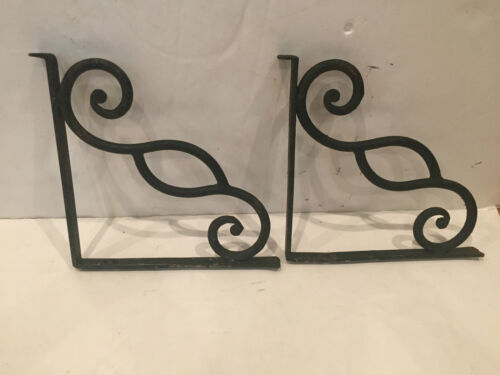 (2) ANTIQUE HEAVY DUTY WROUGHT IRON SHELF MANTEL WALL BRACKETS PAIR 11 X 10.5""