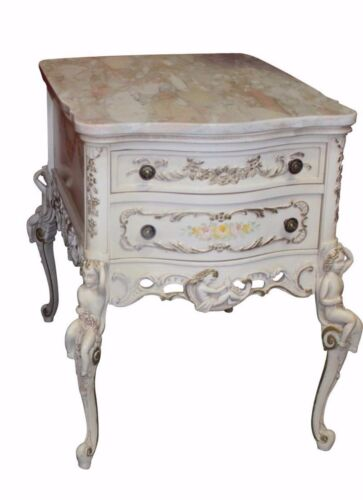 Vintage French Style Marble Top End Table