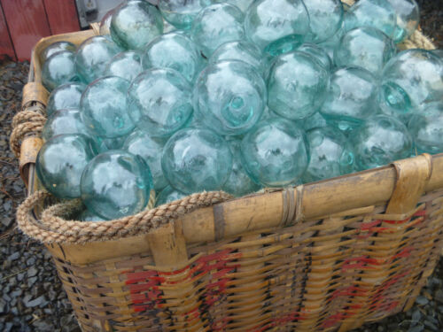 "Japanese Glass Fishing FLOATS 2"" LOT-30 BULK Tiki Bridal Pool Decor Vntg"