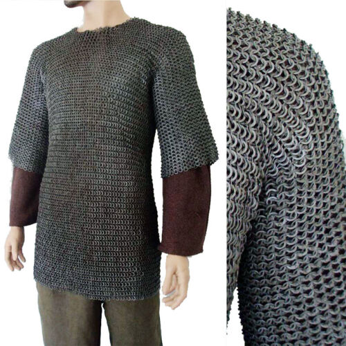 Flat Riveted w/ Flat Washer Chain Mail Shirt Medieval Chainmail Haubergeon a1hiReenactment & Reproductions - 156374