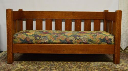 LIMBERT Antique Mission Arts and Crafts Solid Oak Sofa Couch Settee Refinished