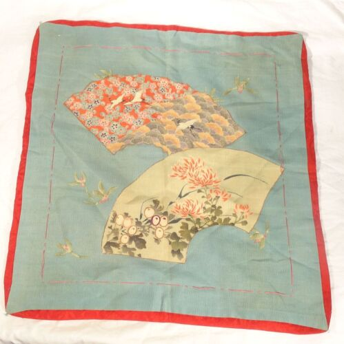 Antique Japanese Embroidered Silk Fukusa Gift Cover Cranes Fans