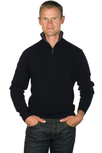 Ugholin Men's 100% Cashmere Black Zip Neck Jumper with a Grey Contrasted Collar