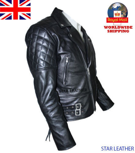 Men's Brando Vintage Motorcycle Classic Real Leather Biker Jacket Black Color <br/> EXCELLENT 100% REAL QUALITY,FAST SELLING,QUICK DELIVERY