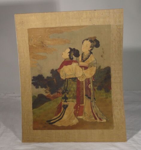Antique Chinese Fine Classical Scroll painting Silk Signed Seal Ladies Crane