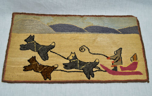 "Early Grenfell Hooked Rug Classic Dogsled Scene 11""X 20"""