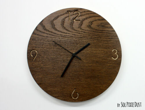 Wooden Circle with Numbers - Wooden Wall Clock