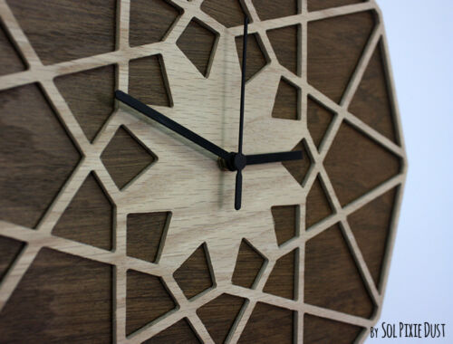 Wooden Geometrical Star Silhouette - Wooden Wall Clock