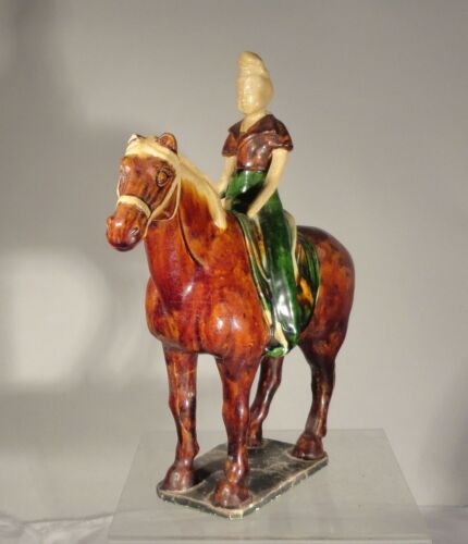 Antique Chinese Tang Dynasty Horse Figure Woman Rider Sancai Glazed Pottery