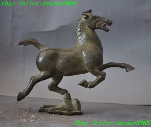 """8"""" Old chinese fengshui bronze horse success Horse riding Chebi animal statue"""
