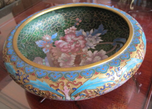 """Large Antique Chinese Floral Cloisonne Brush Washer Bowl 9"""" wide"""