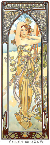 Daybreak 1899 Alphonse Mucha Art Nouveau Poster Rolled Canvas Giclee 17x42 in.