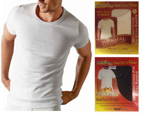 3 X New Mens Short Sleeve Heat Trap Thermal Brushed Underwear Vest T Shirt