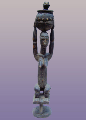 "African Attye female Figure with pot from Lagoon area of Ivory Coast 43"" Tall"