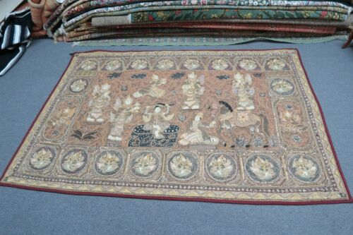 "Antique Thai Burma Embroidery Kalaga Sequin Tapestry Pictorial Handmade 54""x82"""