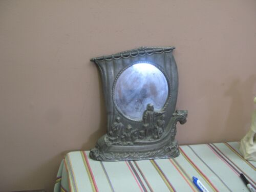 "Old Handmade Pewter Frame Mirror Americana Discovery of America 12"" x 11"""