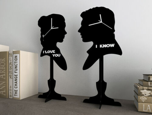 Set of two clocks - I love you, I Know - Silhouette Table Clock