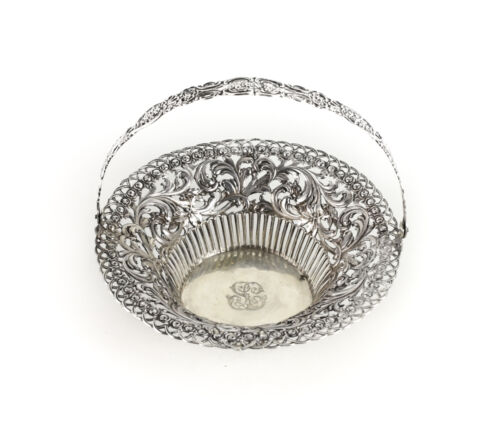 800 Alloy Silver Hand Chased Pierced Basket c1900 Continental, Openwork details